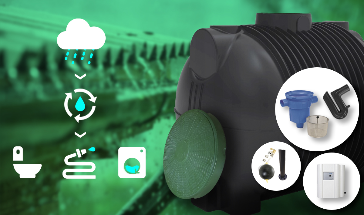 Plastová nádrž Atlanta 10 000 litrů s jednotkou Rainmaster Eco 10